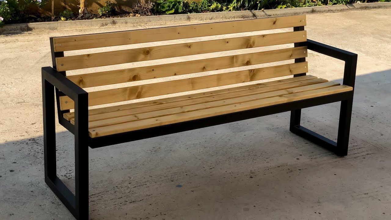 Modern Outdoor Bench steel & wood