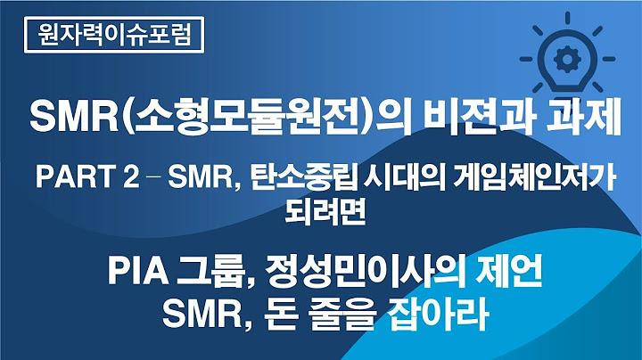 [원자력이슈포럼]SMR,  돈 줄을 잡아라(PIA 그룹 정성민 이사)