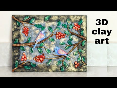 3D clay art on canvas | clay mural painting on canvas for beginners | diy wall hanging ideas