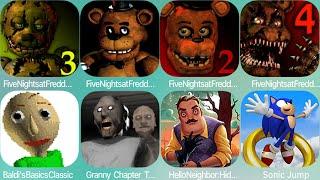 Five Nights at Freddy's: Sister Location,FNAF ,FNAF 2,FNAF 3,FNAF 4,Granny,Banny,Angry Gran Run
