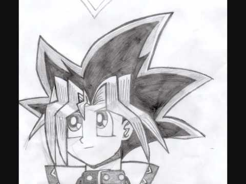 My anime drawings naruto d gray man and yugioh