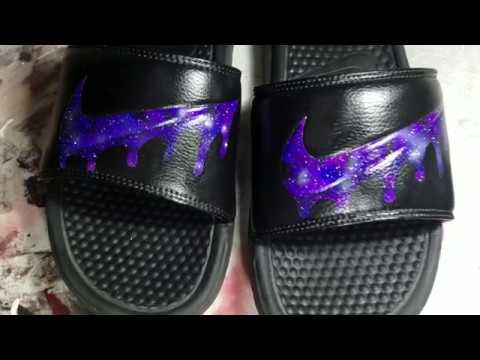 5c02abc22da436 Custom Galaxy Drip Nike Slides - YouTube