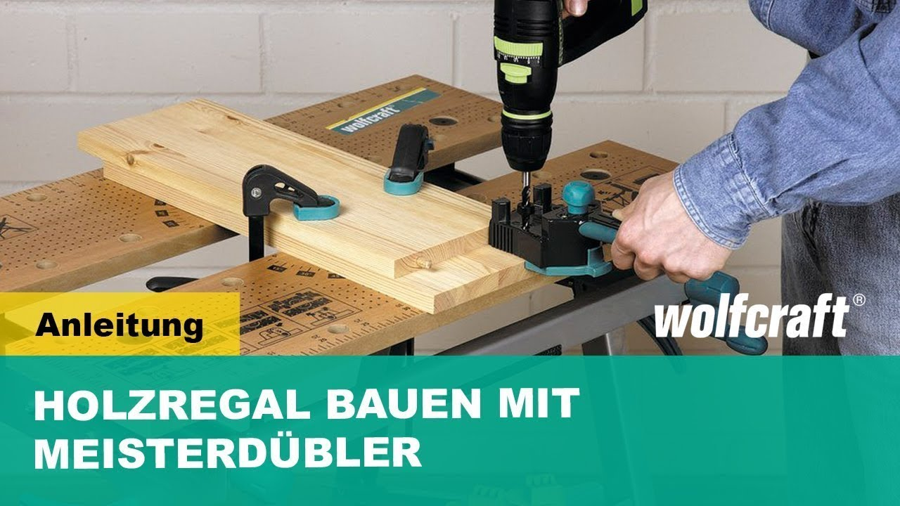 holzregal selber bauen mit dem meisterd bler wolfcraft youtube. Black Bedroom Furniture Sets. Home Design Ideas