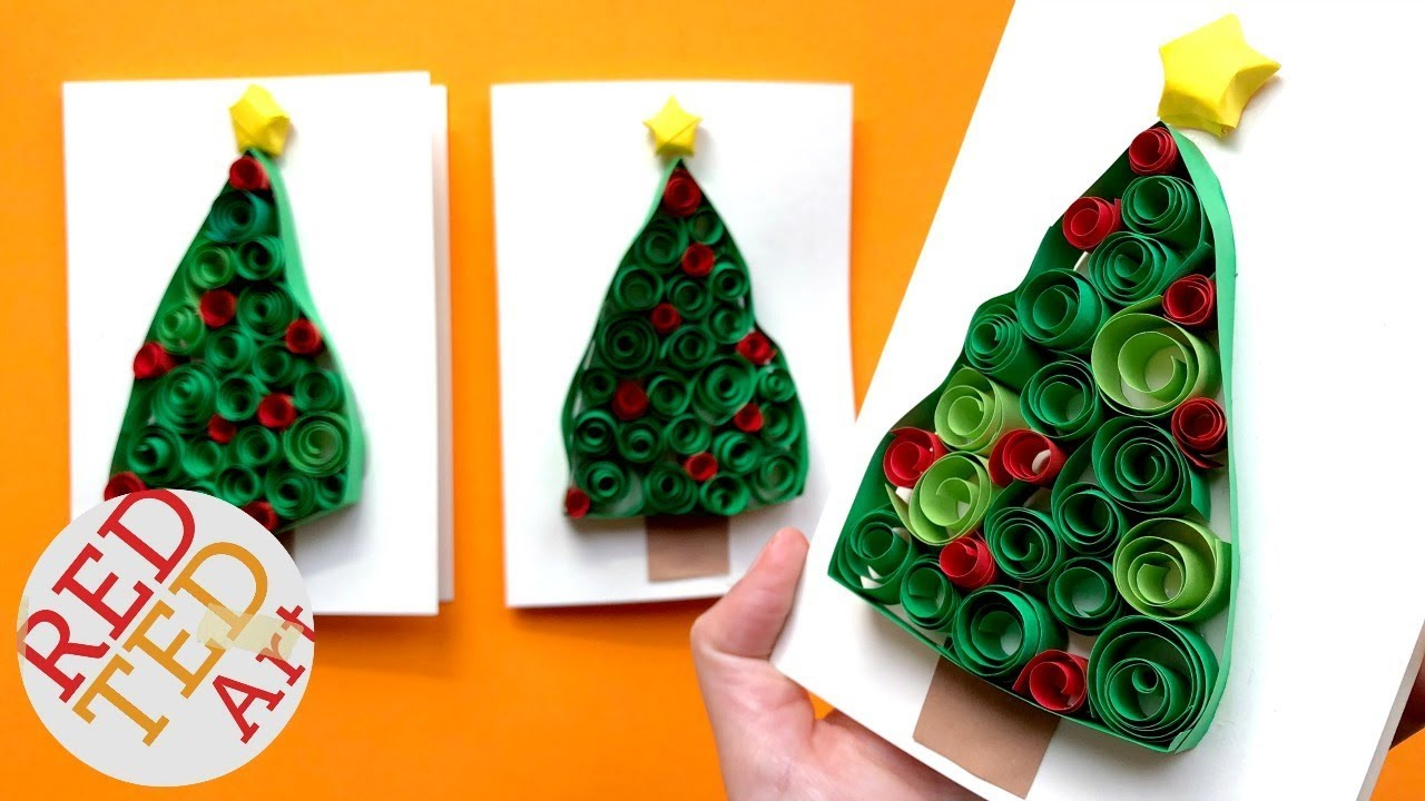 3D Christmas Tree Card DIY Easy Quilling For Beginners