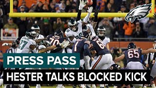 Treyvon Hester Discusses Blocked Kick vs. Chicago | Eagles Press Pass Compilation