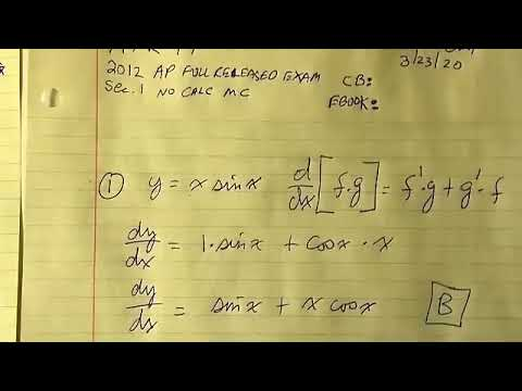 2012 AP Calculus AB Full Released Exam : SECTION I : Part ...