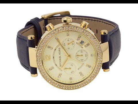 MK2280 - Michael Kors Women s Chronograph Parker Navy Blue Leather Watch 523f57c19c