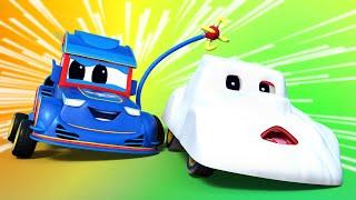 儿童动画- 跟鬼赛跑 -汽车城超级卡车!