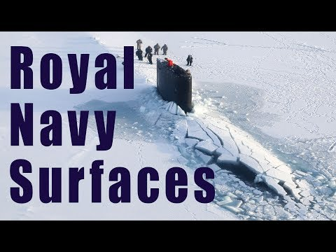 Royal Navy submarine surfacing in the Arctic Ocean