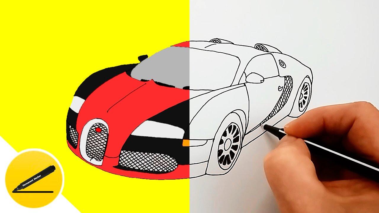 How To Draw A Car Bugatti Veyron Youtube