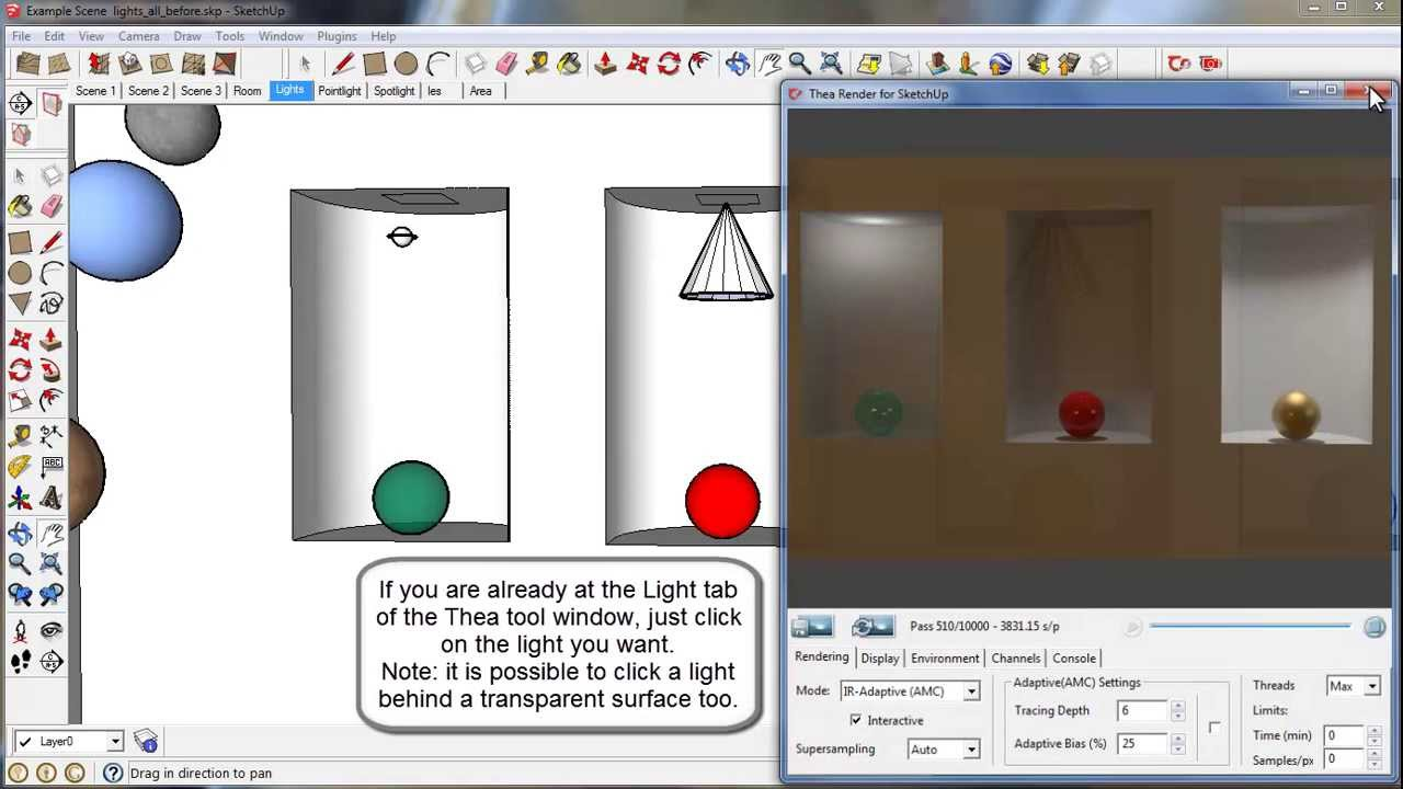 Thea For Sketchup Setting Up Lights Youtube