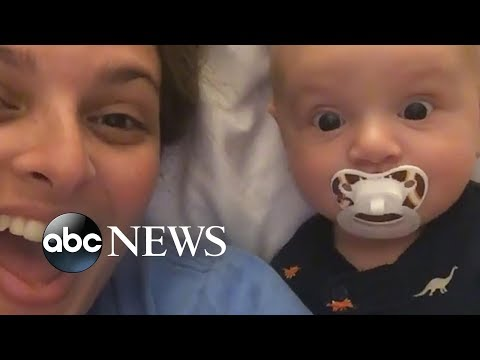 Curtis - Baby Smiles Seeing His Mom In Two Places At Once