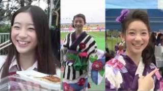 5月8日、2011Jリーグ特命PR部女子マネの足立梨花さんがとりぎんバードス...