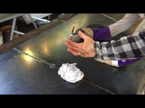 Roger showing how to flatten 3mm steel plate after welding