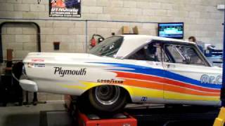 1965 plymouth satellite race car Chassis dyno 535 CID MOPAR STROKER