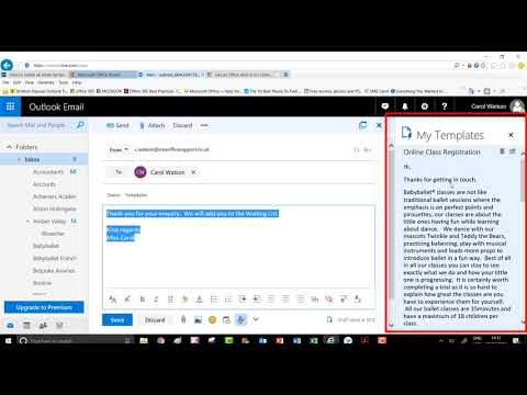 How do i open an email template in outlook 2020