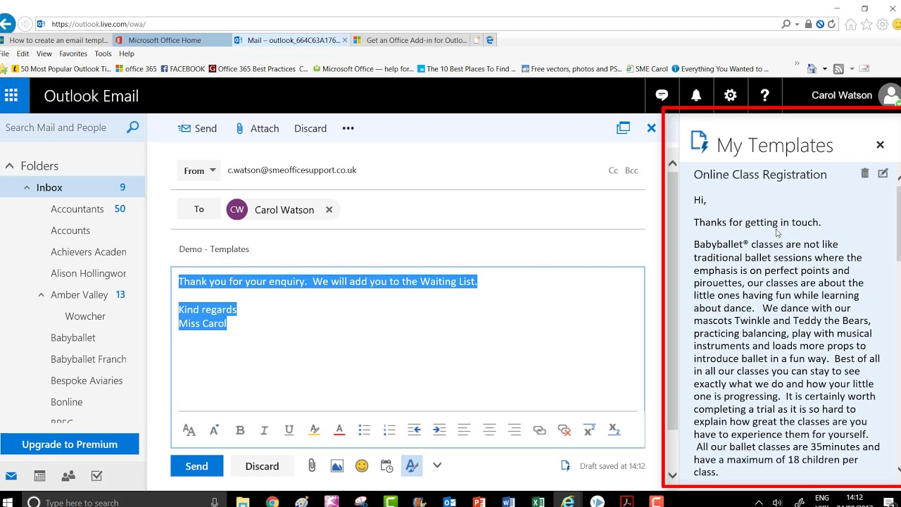 Outlook 365 My Templates Email Youtube