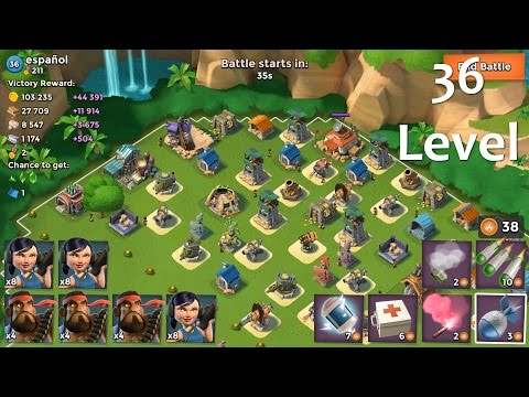 Opponent 36 level Boom Beach Attack Strategies. Heavy + Zooka (offensive tips)