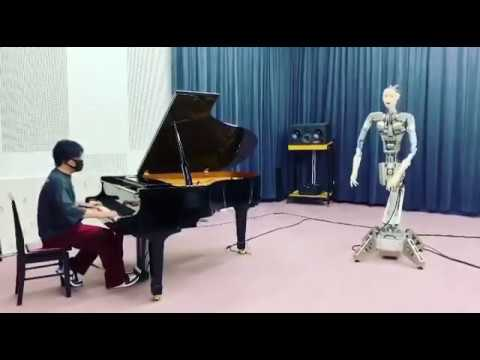 渋谷慶一郎「即興ピアノ演奏に合わせて、アンドロイド『オルタ3』即興歌唱を披露」Keiichiro Shibuya with Alter3 showcasing improvisation