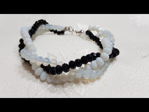 Saç Örgüsü Kristal Bileklik - DIY  Beaded Bracelet
