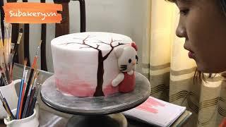 Bánh sinh nhật tạo hình Kitty và vẽ trái tim