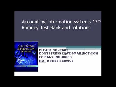 accounting information systems romney test bank Description accounting information systems romney 13th edition solutions manual accounting information systems romney steinbart 13th edition solutions manual.
