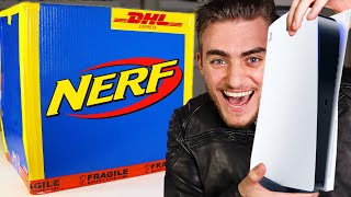 DO NOT OPEN NERF MYSTERY BOX AT 3AM!! (PS5 REVEAL!? , IPHONE 12, XBOX SERIES X, XBOX SERIES S!?)