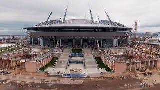 Стадион «Крестовский» / «Зенит-Арена» с воздуха. Апрель 2016(Видеосъемка строящегося стадиона на Крестовском острове с воздуха. 30 апреля 2016 года На стадионе «Крестовс..., 2016-05-10T07:55:32.000Z)