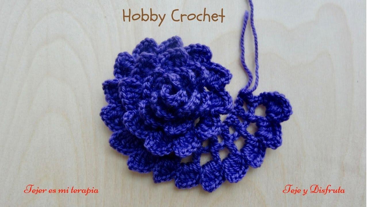 Flor a crochet Nº 6 paso a paso. - YouTube