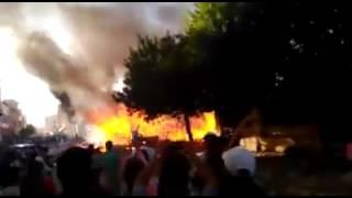 حريق مهول بسوق البرج المشقوق بمكناس
