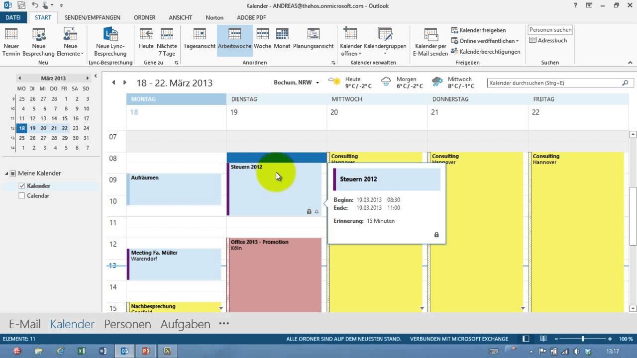 Outlook Termin Erstellen Kalender Teil 02 Youtube
