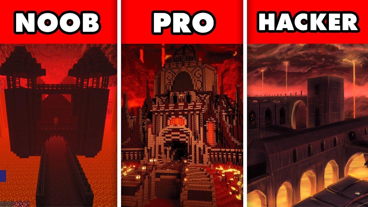 Noob vs. Pro vs. Hacker : SCARY LAVA NETHER FORTRESS EXPLORE CHALLENGE! In Minecraft Animation
