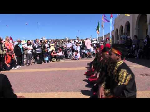 Saman Dance from Aceh at Festival of the Winds, Bondi Beach, Sidney, Australia.