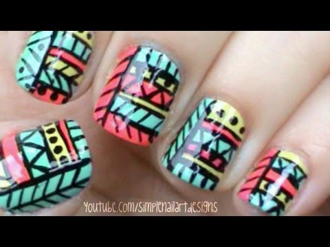 Tribal print nails youtube tribal print nails prinsesfo Image collections