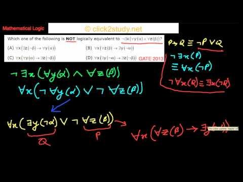 Mathematical Logic Example 1.007 GATE CS 2013 (Logical Equivalence)