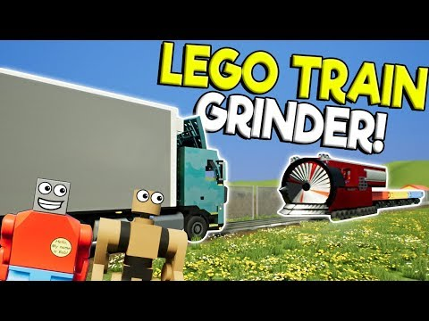 Lego City Train Grinder DESTROYS Lego Diesel Trucks! - Brick Rigs Gameplay - Lego City Destruction