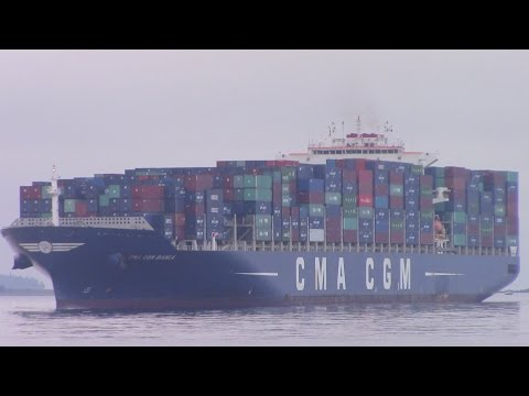 Container Ship CMA CGM BIANCA inbound into Port of Halifax, NS (Aug 31, 2015)