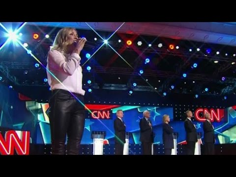 (Democratic Debate) Sheryl Crow sings national anthem at Democratic debate