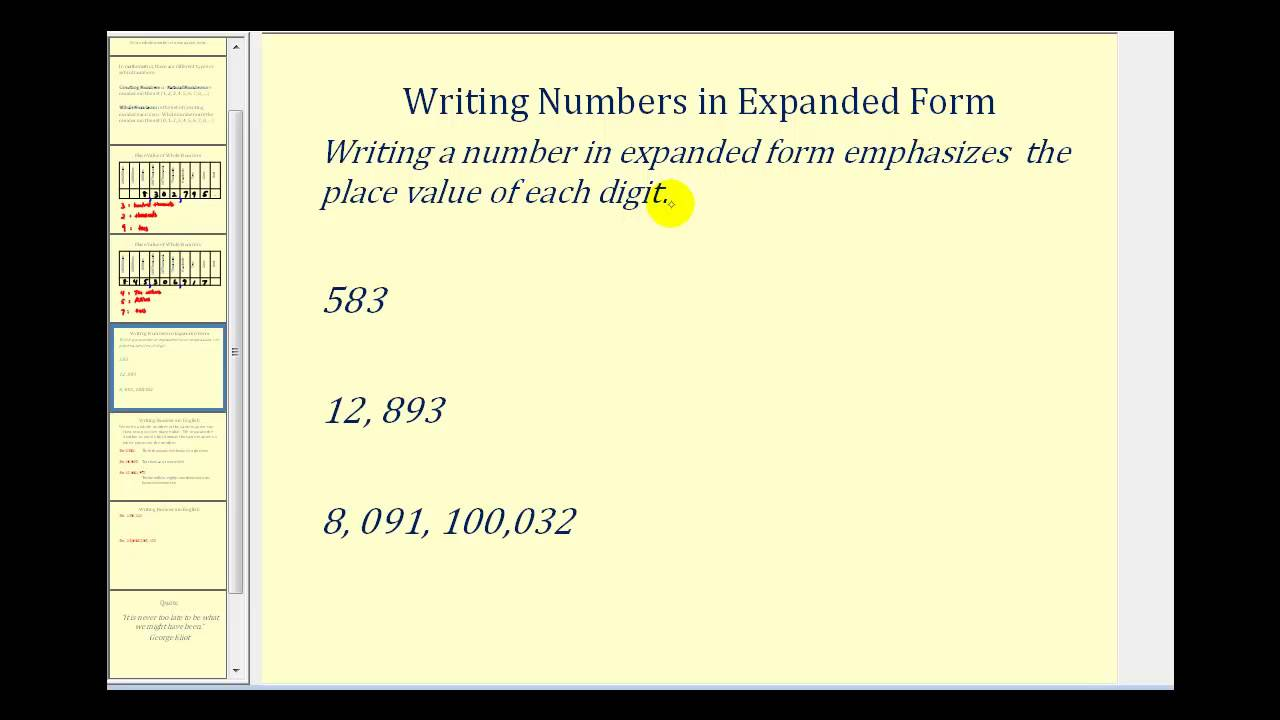 hight resolution of Expanded Notation (video lessons