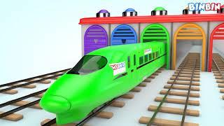 Мультик про разноцветные поезда! Learn Colors Street Vehicles For Kids   Train Toys For Children!