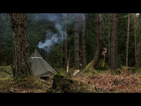 Bushcraft Solo - Rain - Fire Torch - Hot Tent - Wood Stove - Wilderness Painting - Outdoor Cooking