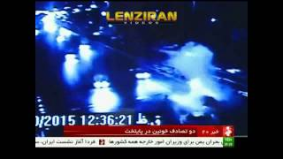 Scene of car accident in Tehran in which  four killed and two expensive cars scraped