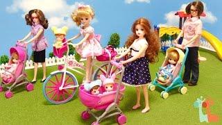 リカちゃん おせわベビーカー みつごの赤ちゃんと公園 / Licca-chan Doll , Baby Infant Carriage Stroller