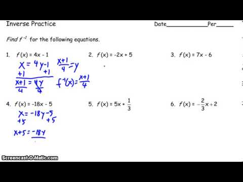 Inverse Function Worksheet Examples - YouTube