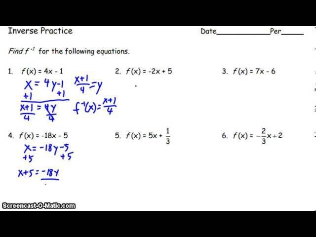 Graphing Inverse Functions Worksheet With Answers Pdf