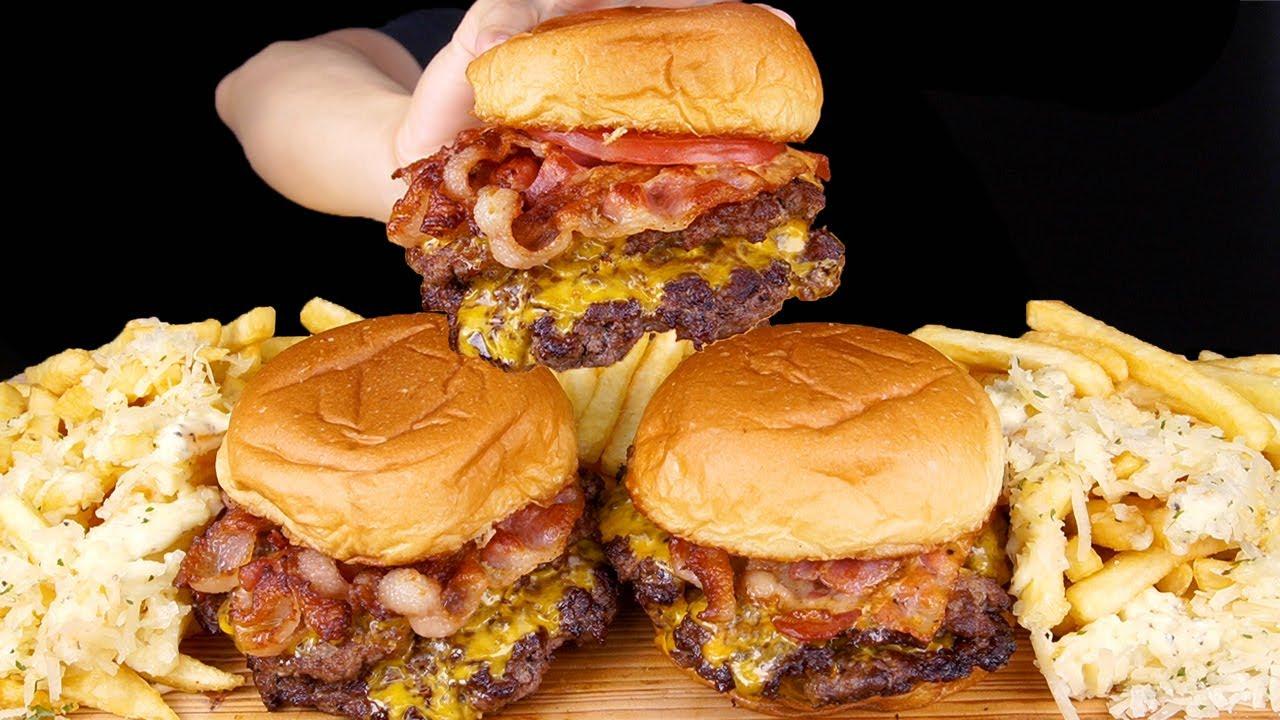 ASMR BACON CHEESEBURGERS TRUFFLE CHEESY FRIES MUKBANG 베이컨 치즈버거 먹방 チーズバーガー 咀嚼音 モッパン EATING SOUNDS