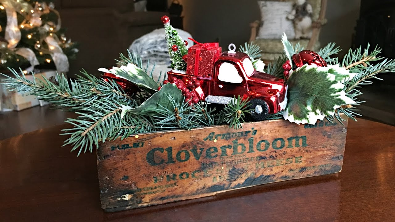 red truck christmas centerpiece diy christmas decorating rustic floral arrangement - Christmas Centerpiece Decorations