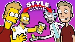 THE SIMPSONS and RICK AND MORTY - Style SWAP Challenge!