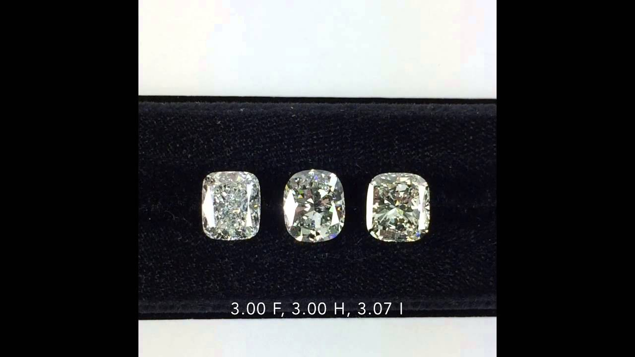 Loose 3 Carat Cushion Cut Diamonds Fhi Color