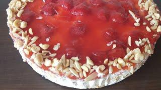 strawberry cake eggless cake...كيك الفراولة الشهي من غير بيض وبدون فرن